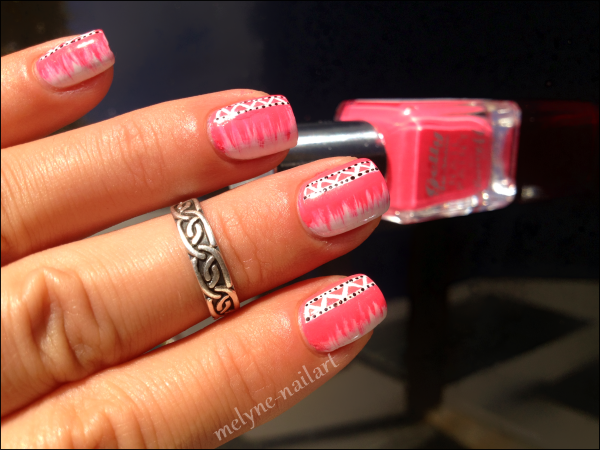 Nail Art barry M rose azteque 3