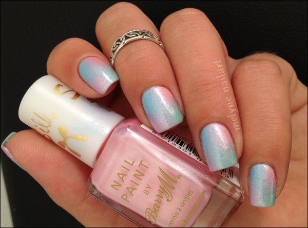 Nail Art degradé pastel Barry M silk 11