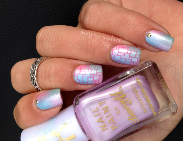 Nail Art degradé pastel Barry M et stamping 1