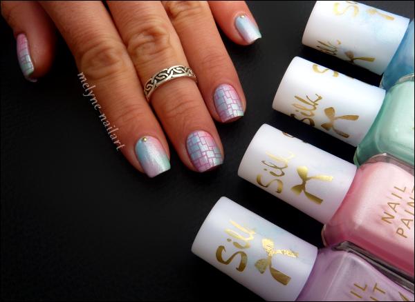 Nail Art dégradé pastel Barry M et stamping 4