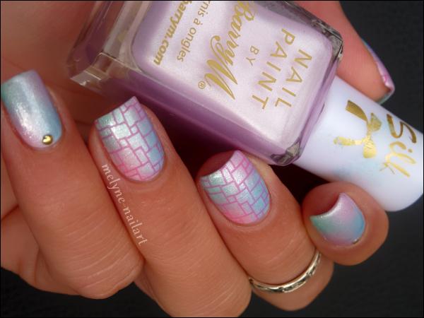 Nail Art dégradé pastel Barry M et stamping 5