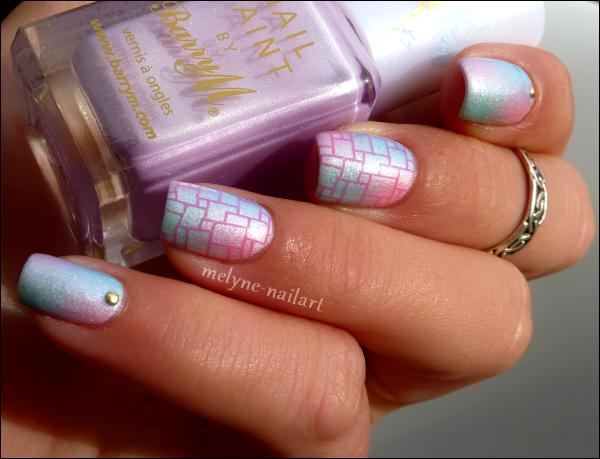 Nail Art dégradé pastel Barry M et stamping 6