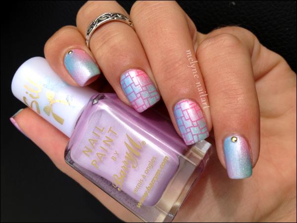 Nail Art dégradé pastel Barry M et stamping