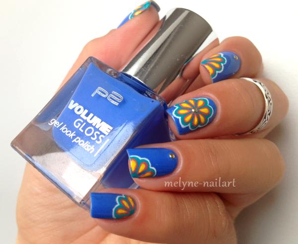 Nail Art P2 Bleu fleurs russes 10