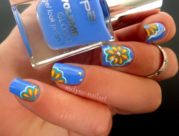 Nail Art P2 Bleu fleurs russes 2