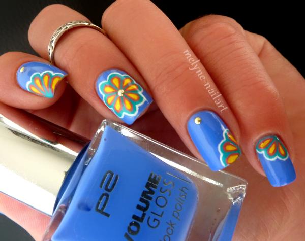 Nail Art P2 Bleu fleurs russes 3