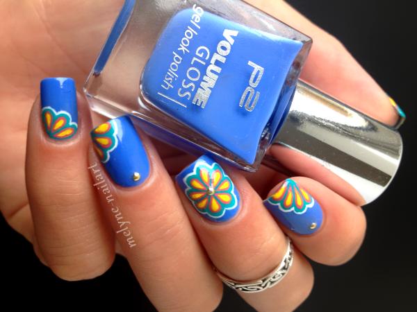 Nail Art P2 Bleu fleurs russes 5