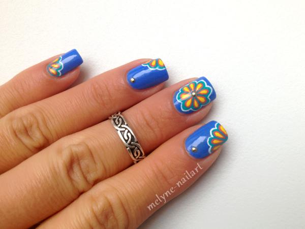 Nail Art P2 Bleu fleurs russes 6