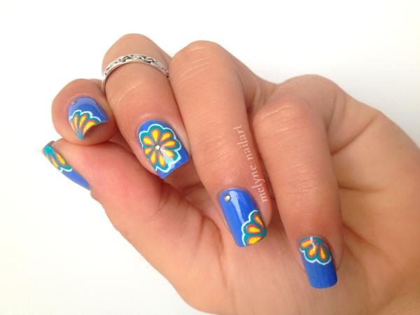 Nail Art P2 Bleu fleurs russes 9