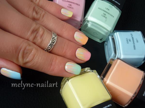 Nail art waterfall pastel
