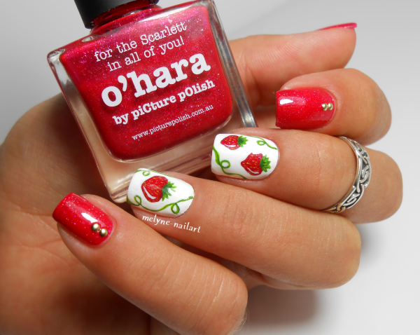 Nail art fraises picture polish O'Hara