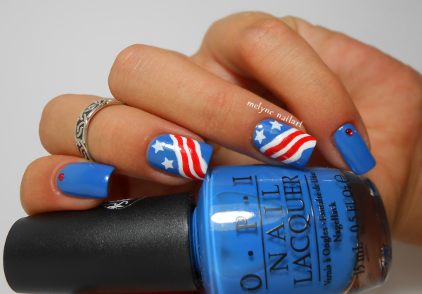 Nail art Independance Day, 4th July