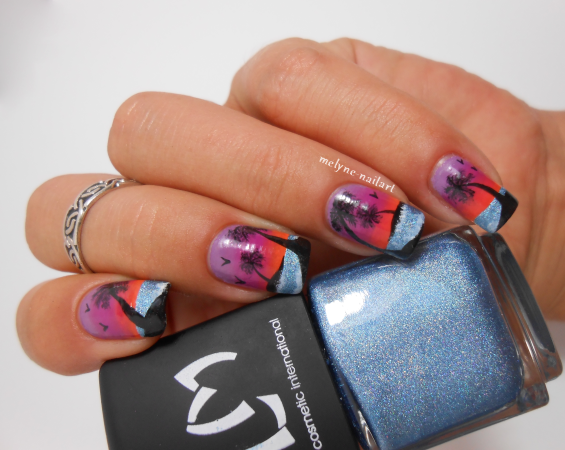 nail art sunset beach