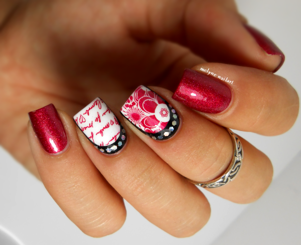 Nail art stamping et paillettes A England Rose Bower