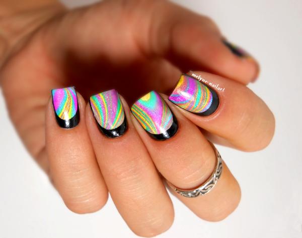 nail art water marble holo et ruffian