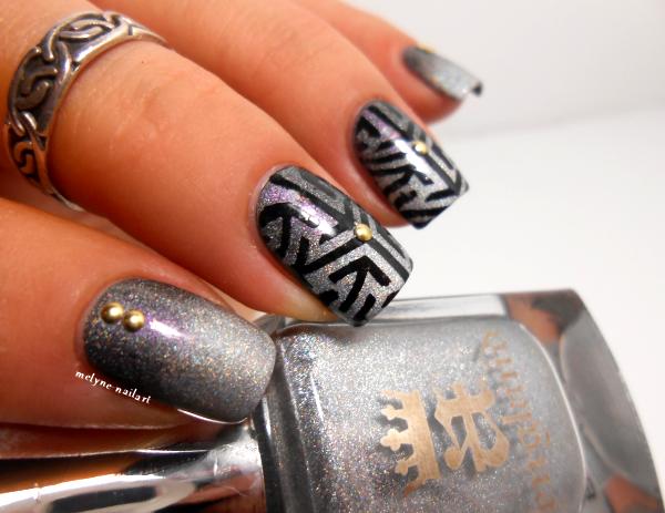 Nail art gradient Ascalon et Encore Margot, stamping Pueen