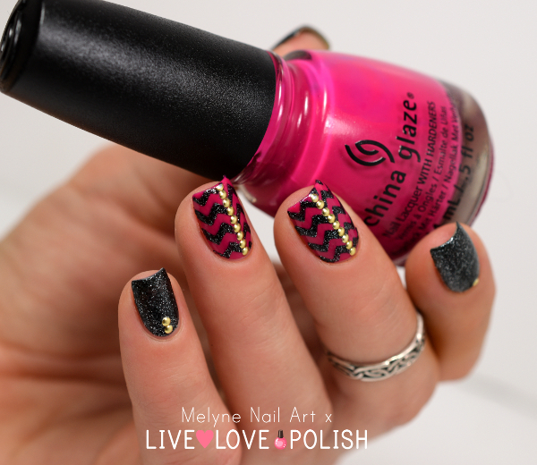 Nail art chevrons et studs China Glaze Live Love Polish