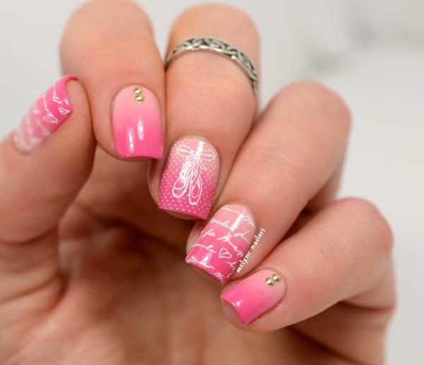 nail art dégradé ballerine romantique