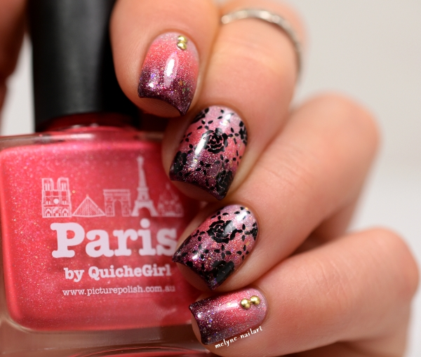 nail art gradient Picture Polish et stamping pueen