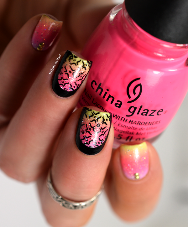 Summer gradient nails ruffian et stamping