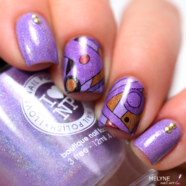 ILNP Charmingly Purple et nails stamp géométrique