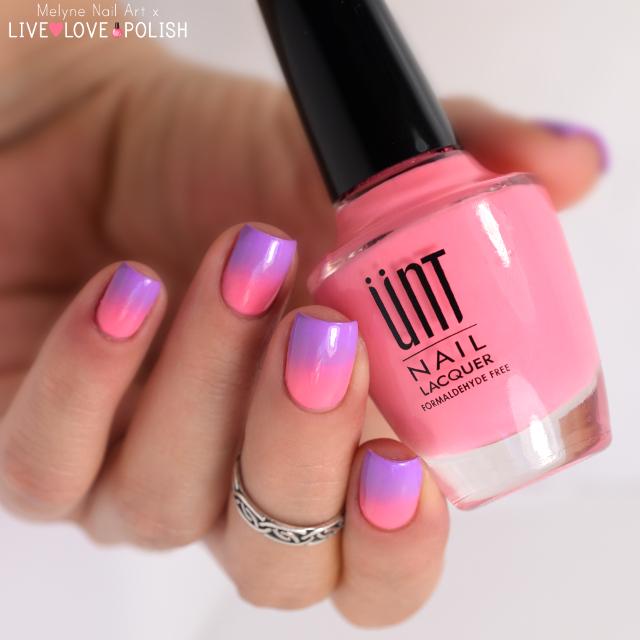 nail art dégradé rose et violet