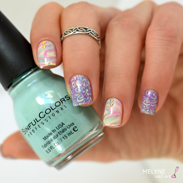 nail art pastel abstrait et accent nail stamping