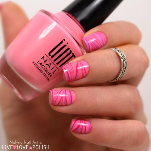 Nail art watermarble rose Live Love Polish