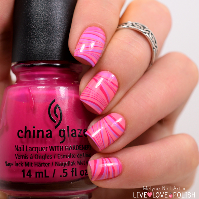 Nail art watermarble rose Live Love Polish