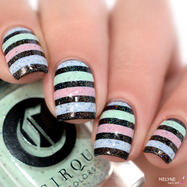 Nail art stripe cirque colors 3