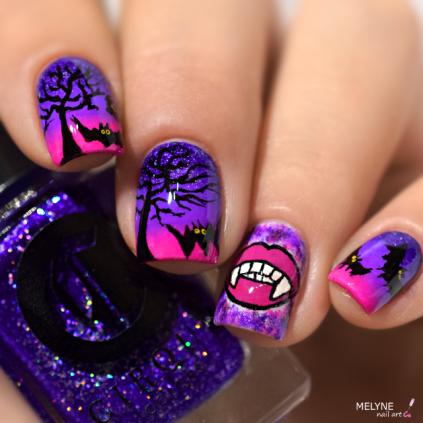 nail-art-chica-vampiro-tutorial-vampire-et-chauve-souris-4