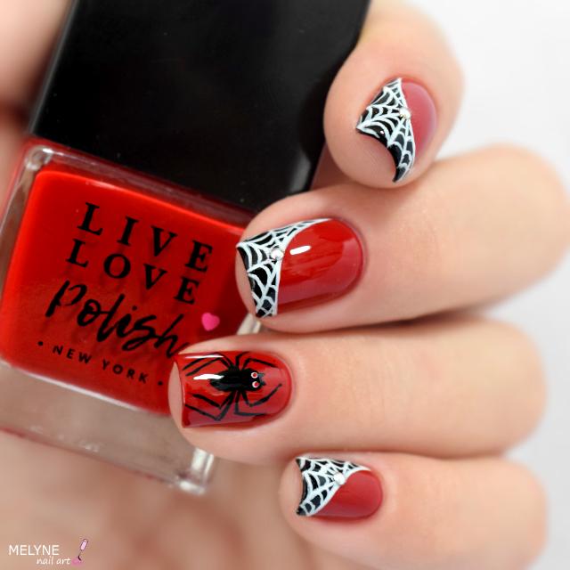 Nail art rouge et noir Halloween 2