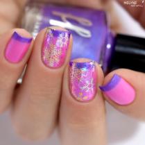 Nail art flocon et flakies sur thermal polish