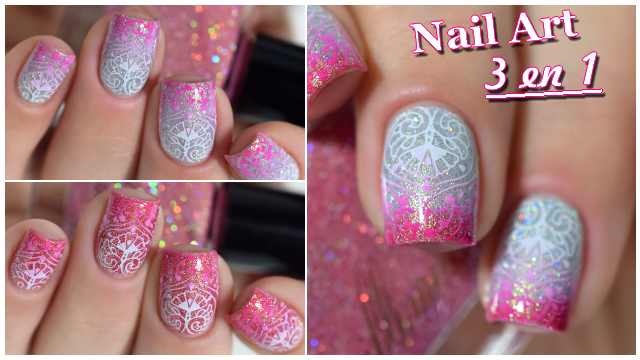 Nail Art Stamping Dégradé Dentelle Thermique - Gradient Nails Thermal Polish Tutorial